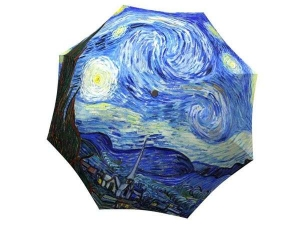 Compact Automatic Unique Umbrella Starry Night Design - Art Umbrella for Women Men - Designer Parasol Umbrella Auto Open Close