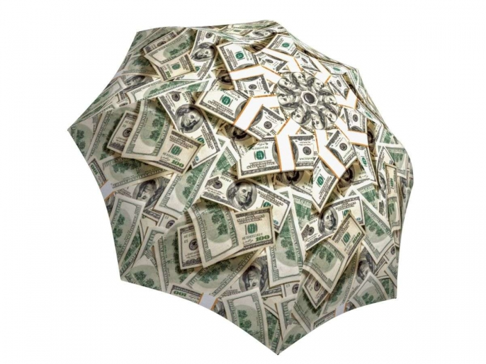 Rain umbrella with gift box - Money Collage
