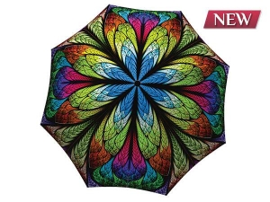 Unique umbrella with gift box - Floral Stained Glass