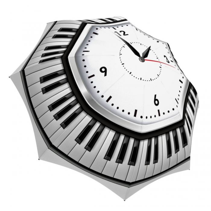 Designer Umbrella for Women and Men - Windproof Auto Open Close - Stylish Clock Umbrella Black and White