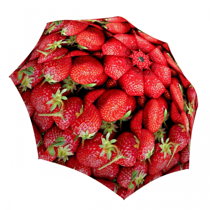 Compact Automatic Rain Umbrella Strawberries Design - Vintage Red Umbrella Lightweight for Travel