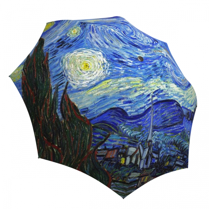 Compact Automatic Unique Umbrella Starry Night Design - Vintage Van Gogh Umbrella Travel