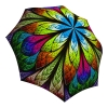 Floral Umbrella for Women - Compact Automatic Rain Umbrella Stained Glass Design