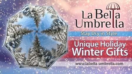 Winter and other designer umbrella on sale from La Bella Umbrella