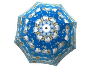 Raining Money Umbrella Blue Sky - Compact Portable Rain Umbrella - best large long windproof umbrellas