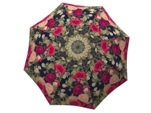 Compact Automatic Rain Umbrella Vintage Roses Design - Floral Umbrella Travel Lightweight - best umbrella to buy