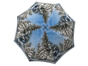 Windproof Umbrella Compact for Travel - Unique Gift Art Umbrella Winter Design - Folding White and Blue Umbrella - big beautiful unique umbrella