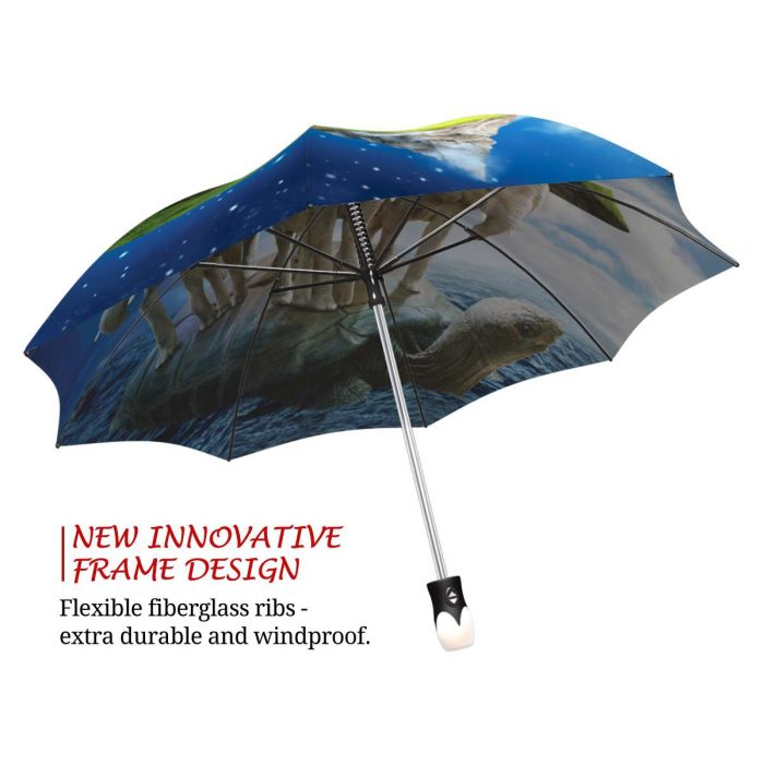 XGXC Abstract Elephants Automatic Tri-fold Umbrella Outer Print One Size