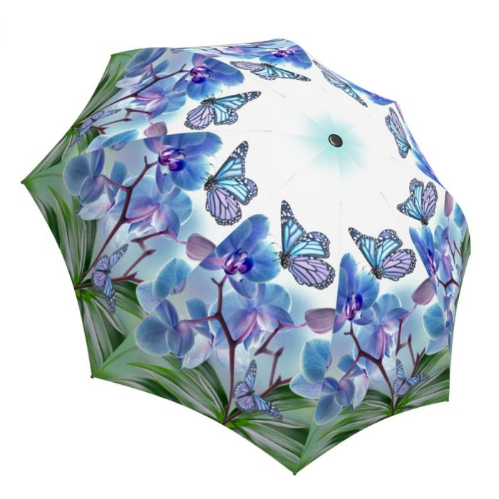 Butterfly Umbrella Blue Design - Fashion Umbrella Stylish Gift - Compact Automatic Rain Umbrella