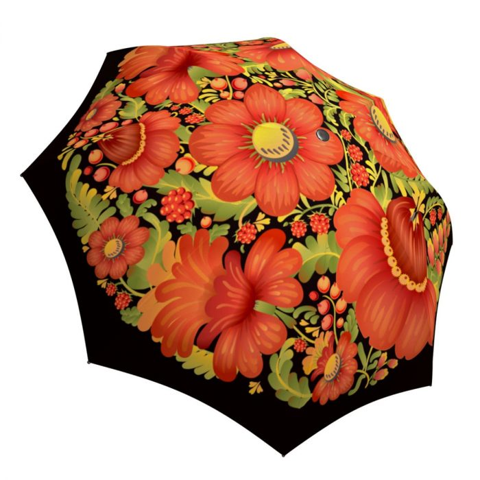 Folk Art Flowers Umbrella for Women - Compact Automatic Rain Umbrella Floral Design