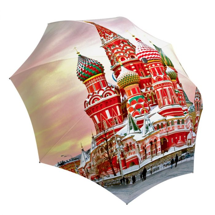 Brand Lightweight Umbrella for Women - Russian Umbrella Pink Moscow Design