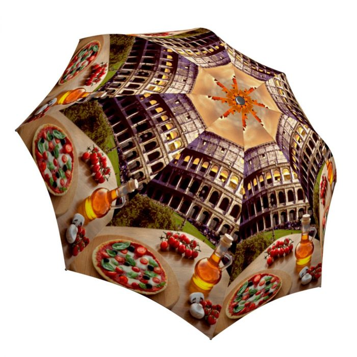 Compact Automatic Rain Umbrella Italy Rome Colosseum Design - Vintage Umbrella Travel Themed Gift