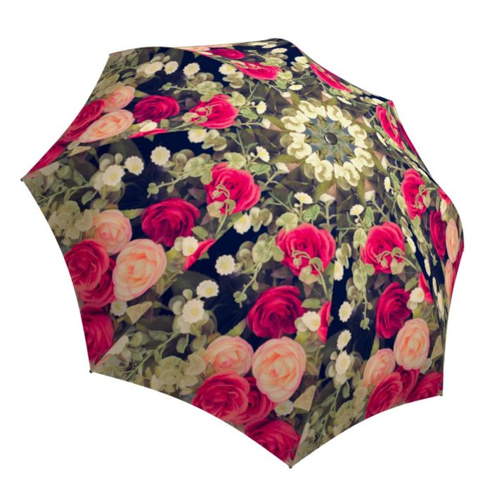 Unique Gift Art Umbrella Vintage Roses Design - Folding Colorful Umbrella with Sleeve
