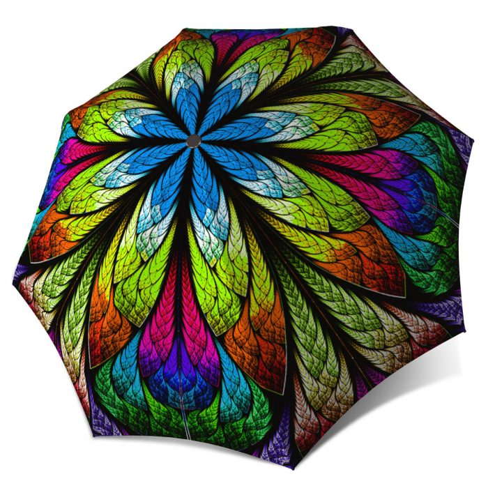 Compact Automatic Rain Umbrella - Floral Stained Glass Design Umbrella for Women
