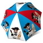 Extra Large Blue Red Umbrella with dog and wine - french designer umbrellas
