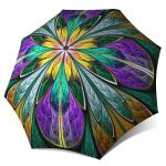 Stained Glass Kaleidoscope design - Umbrella for Women Collapsible Umbrella Windproof Automatic Open Close