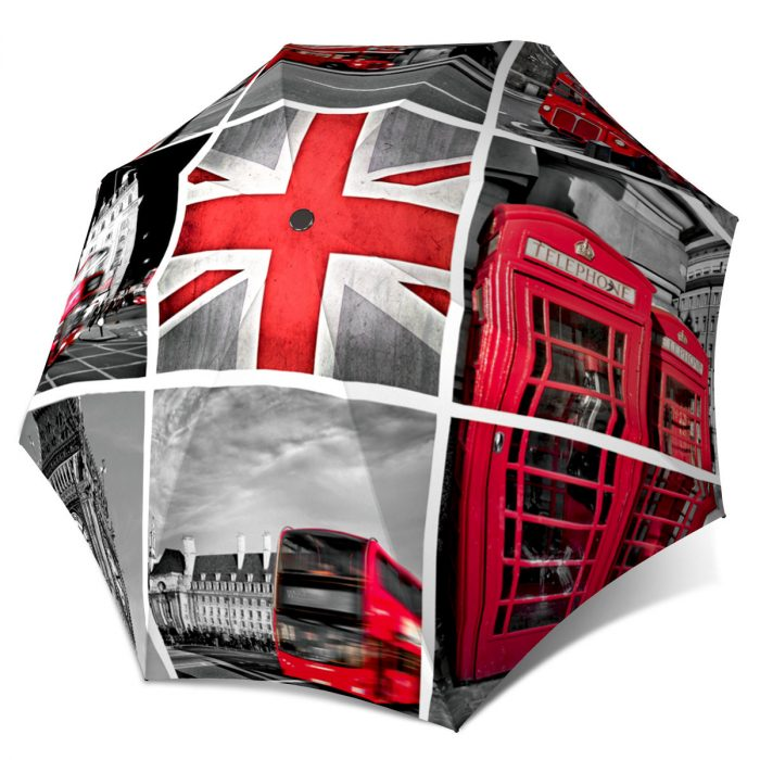 London umbrella - Compact Automatic Umbrella England Design - Vintage Fashion Umbrella London Tower Travel Themed Gift