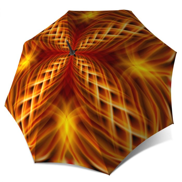 Large windproof Orange Abstract Art stick rain umbrella - High Quality Umbrella Strong Durable for Wind