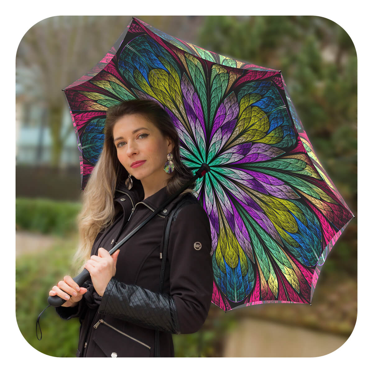 Best Reverse inverted double canopy umbrella Dragonfly Stained-Glass Umbrella by La Bella Umbrella