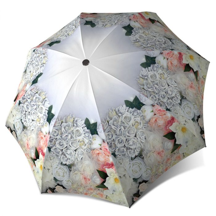 White Roses Compact Automatic Floral Umbrella for Women
