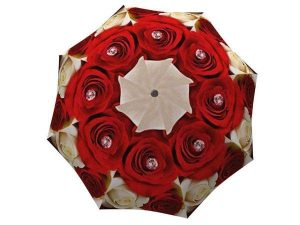 Floral Umbrella for Women - Compact Automatic Flower Umbrella Red Roses Design Vintage Umbrella - best umbrellas for wind