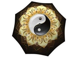 Fashion Yin Yang Umbrella Gold Black White - Folding Durable Strong Umbrella - big umbrella for rain