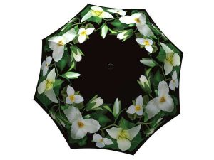 Floral Umbrella Trillium Design - Folding Black White Flower Umbrella with Sleeve - best umbrella on the market