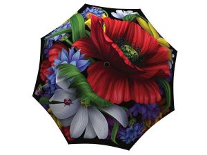 Art Poppy Umbrella for Women - Compact Automatic Beautiful Umbrella Wild Poppies Design - Vintage Umbrella Travel - best umbrellas in the world