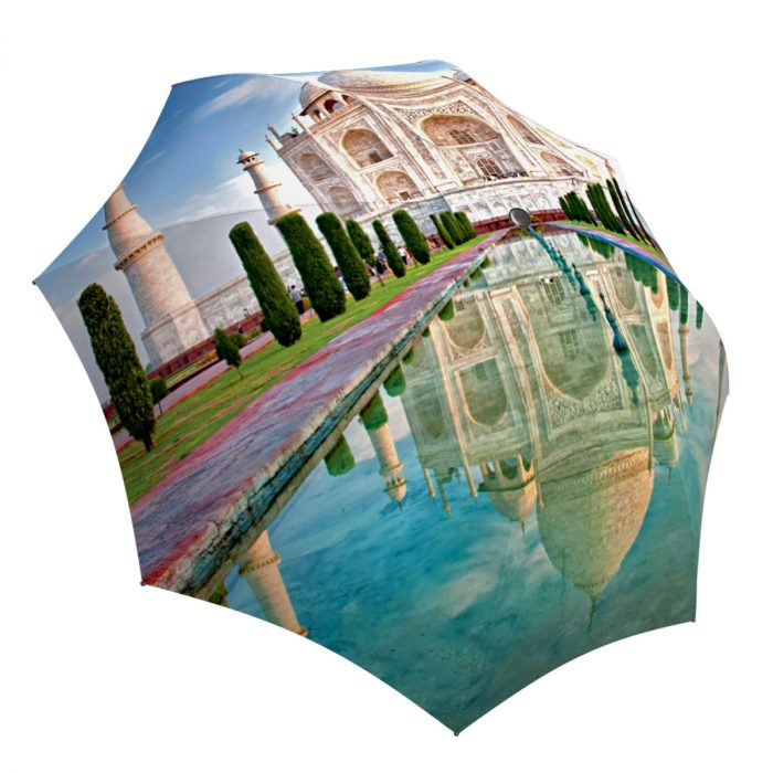 Compact Automatic Rain Umbrella India Taj Mahal Design - Folding Colorful Umbrella with Sleeve