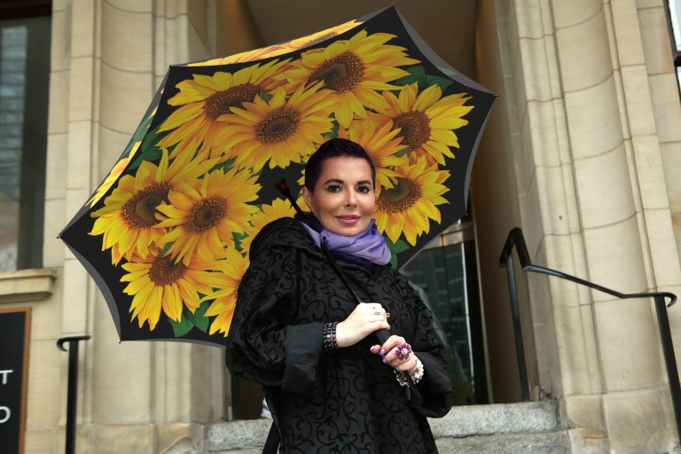 Inverted beautiful sunflower umbrella