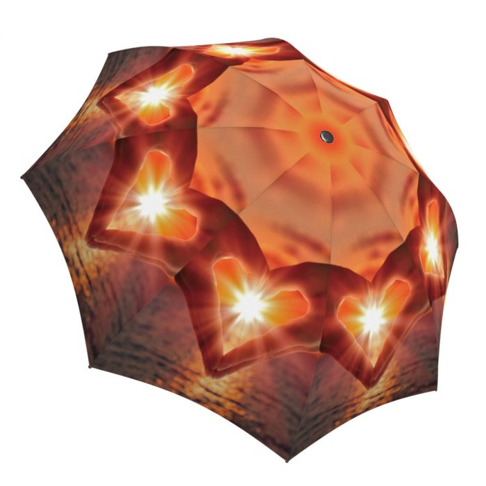 Lightweight Portable Rain Parasol - Compact Automatic Rain Umbrella Love at Sunset Nature Design