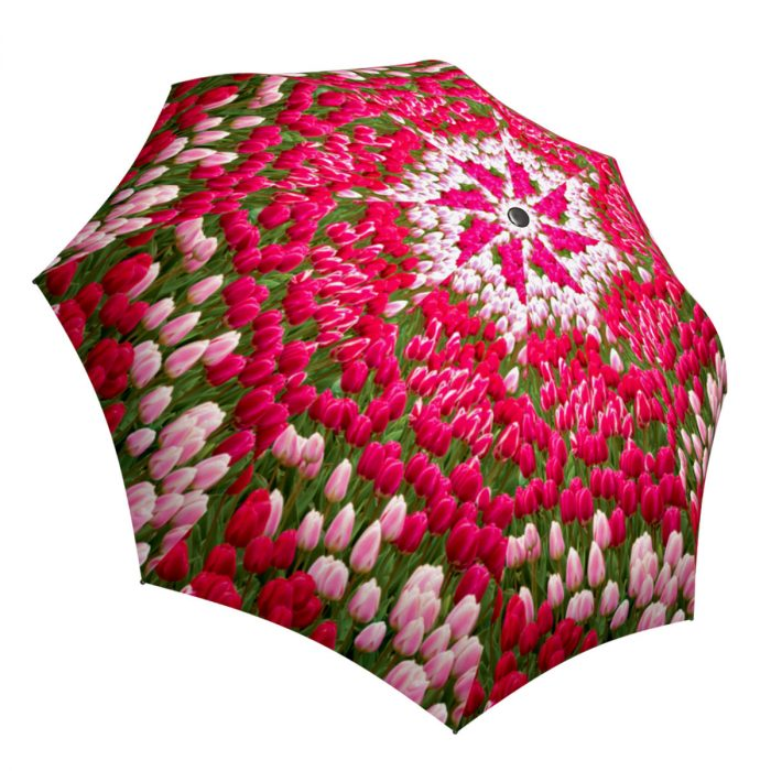 Art Floral Umbrella for Women - Compact Automatic Rain Umbrella Tulips Design