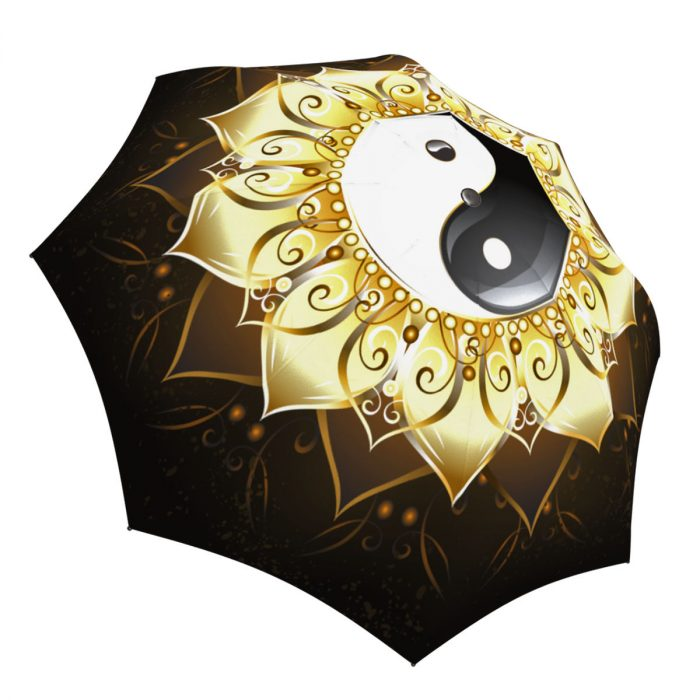 Fashion Yin Yang Umbrella Gold Black White - Folding Durable Strong Umbrella