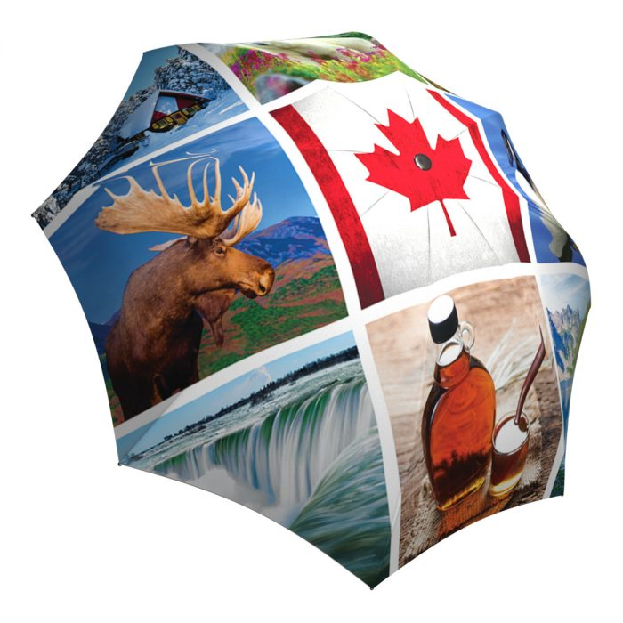 Canadian Flag Umbrella Windproof Auto Open Close - Canadian Gift Designer Umbrella for Women and Men