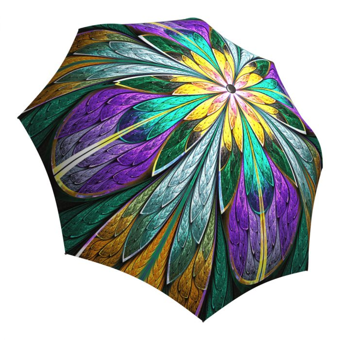 Collapsible Umbrella Windproof Auto Open Close - Stained Glass Kaleidoscope Umbrella for Women
