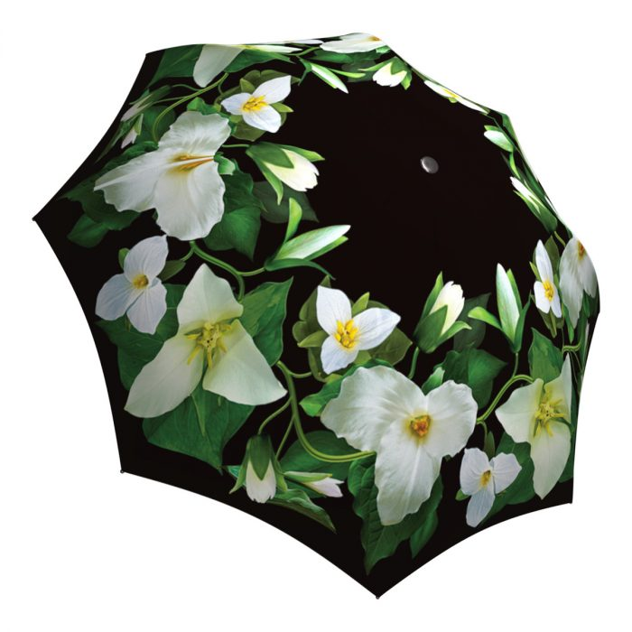Compact Automatic Rain Umbrella Trillium Flower Design - Vintage Fashion Umbrella