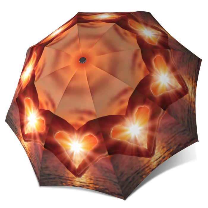 Compact Automatic Rain Umbrella - Love at Sunset Nature Design Lightweight Portable Rain Parasol
