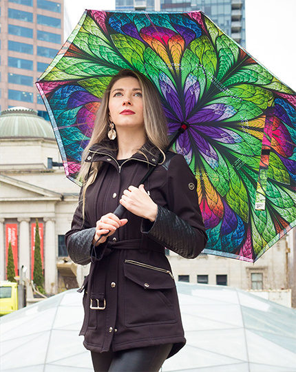 Windproof reverse inverted inside out double canopy umbrellas from La Bella Umbrella