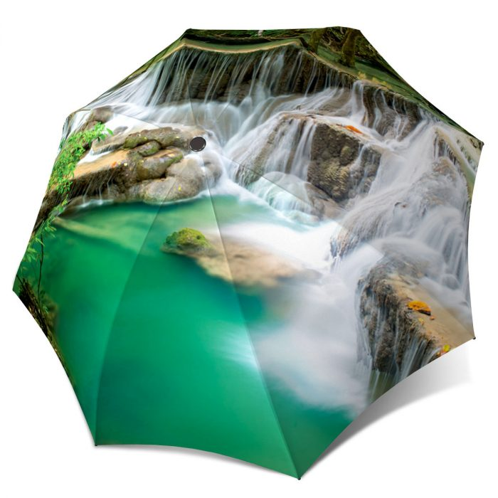 Green Umbrella Thailand Waterfall Lightweight Portable for Rain
