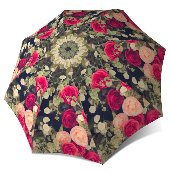 Vintage Roses Folding Colourful Umbrella with Sleeve - Unique Gift Art Umbrella