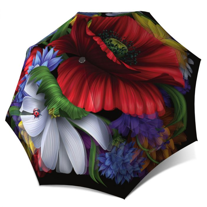 Wild Poppy Art Brand Umbrella Windproof Auto Open Close - Fashion Red Umbrella