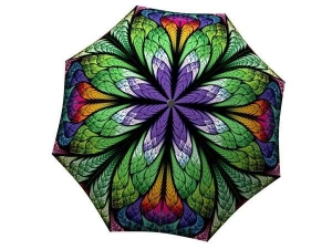 Brand Umbrella Women - Lightweight Portable Rain Umbrella Stained Glass - Unique Gift Art Purple Umbrella Peacock Design