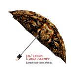 Gold Flower good quality folding rain umbrella with gift box