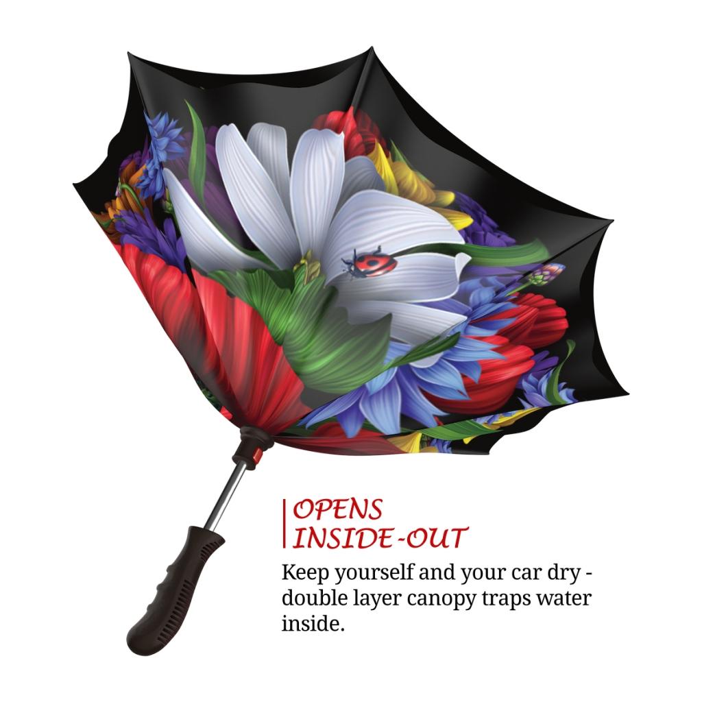 Wild Poppies Inverted rain umbrella