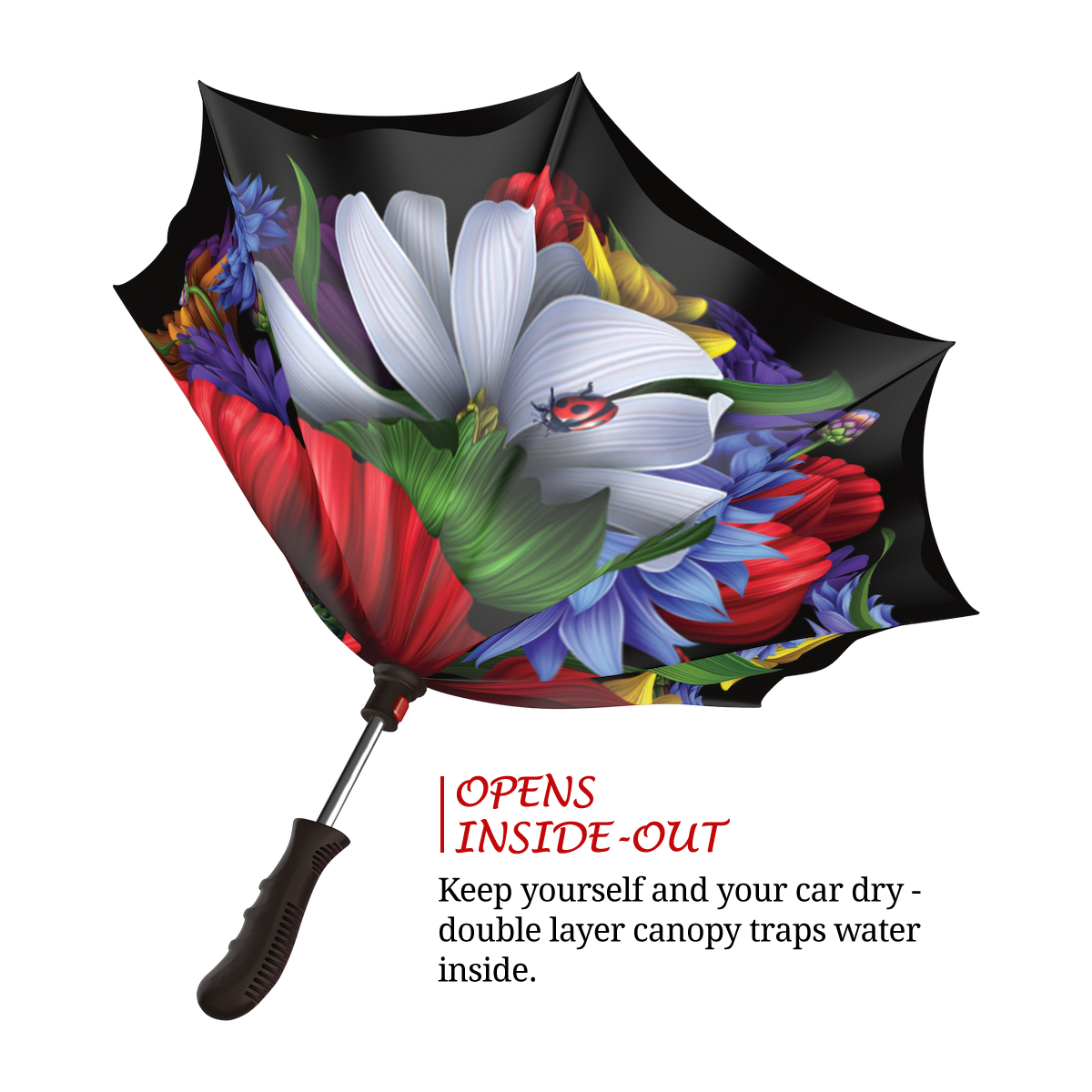 Wild Poppies Inverted rain umbrella