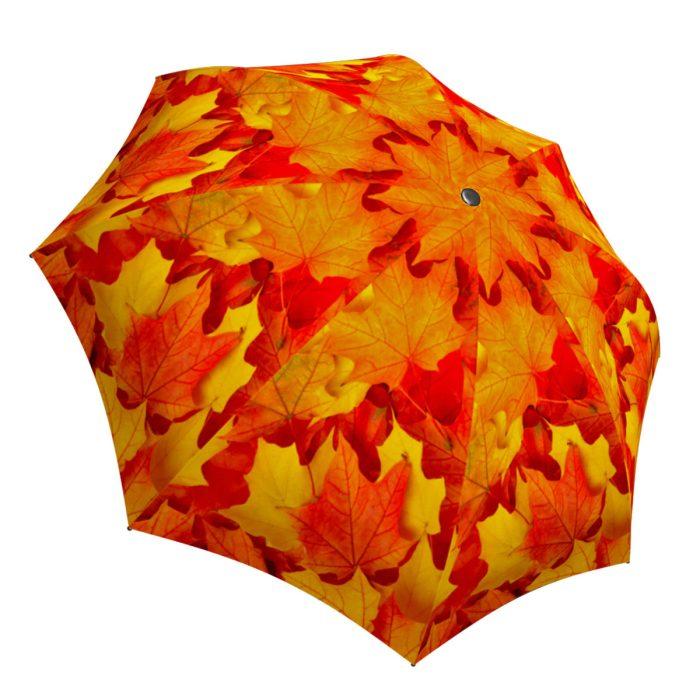 Compact Automatic Rain Umbrella Canadian Autumn Design - Nature Umbrella Travel Lightweight