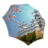 Japanese Art Umbrella for Women - Compact Automatic Rain Umbrella Japan Cherry Blossoms Design - Folding Colorful Umbrella with Sleeve