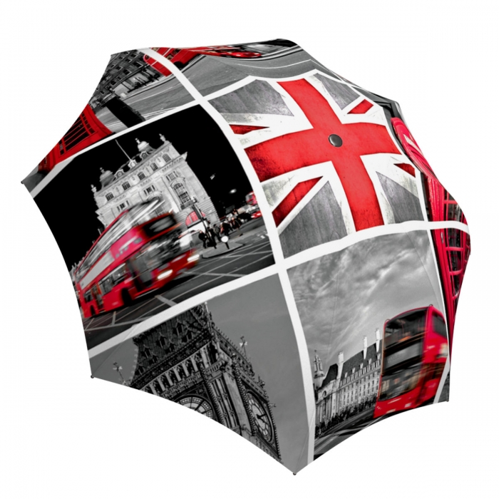 Compact Automatic Umbrella England Design - Vintage Fashion Umbrella London Tower Travel Themed Gift