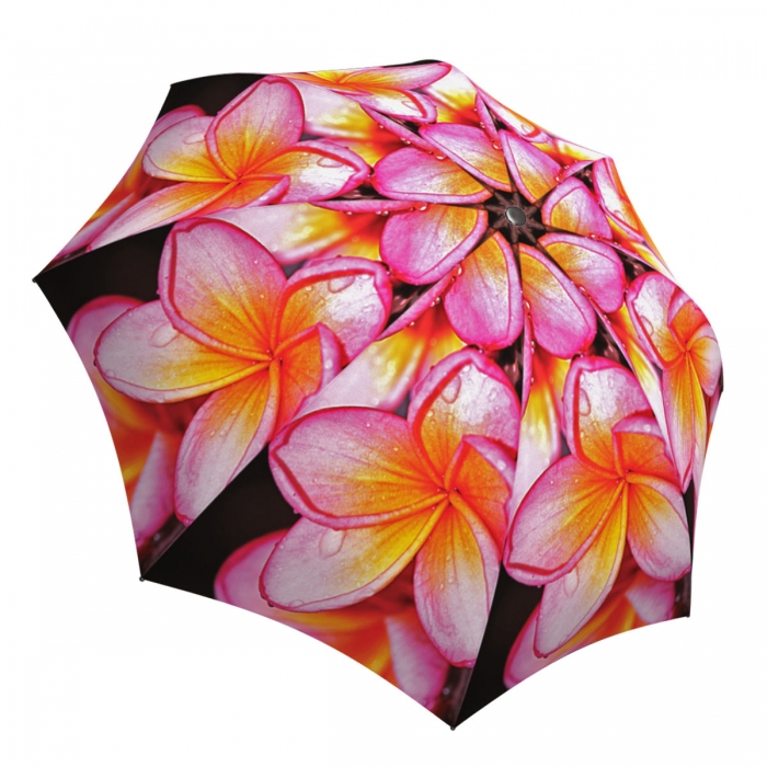 Pink Flower Umbrella Windproof Compact for Travel - Floral Umbrella with Magnolias Design