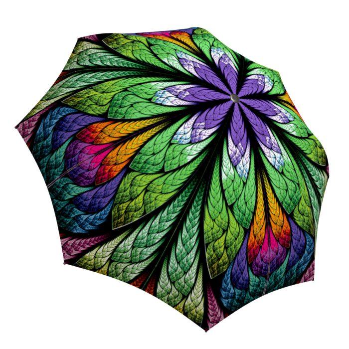 Lightweight Portable Rain Umbrella Stained Glass - Unique Gift Art Purple Umbrella Peacock Design